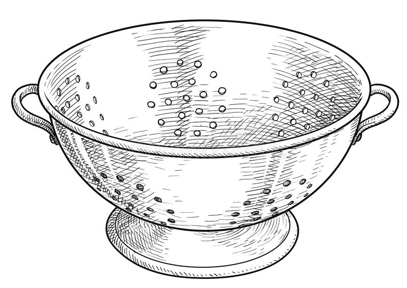 What Is Stainless Steel Made Of >> Stainless Steel Colander Illustration Drawing Engraving