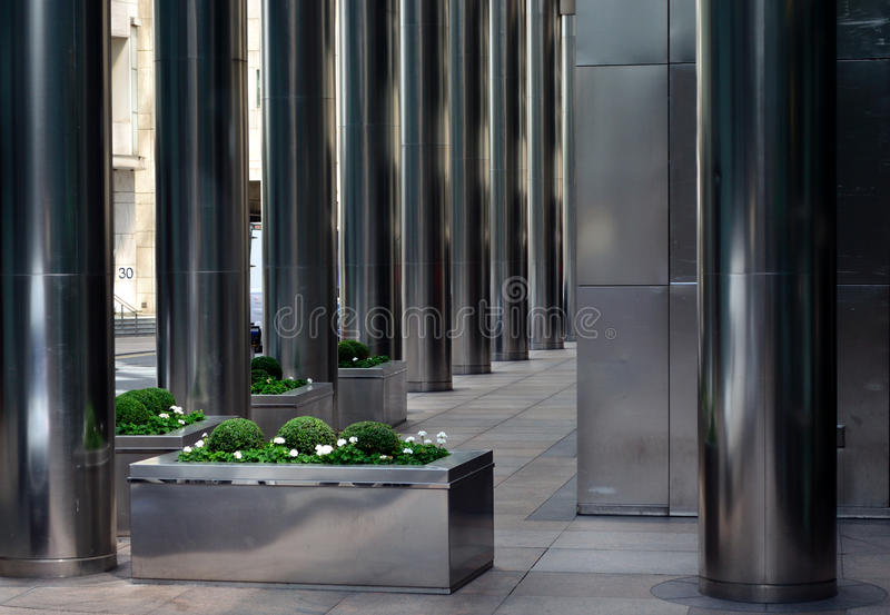 Metal Building Pillar : Stainless steel columns stock photo image of architecture