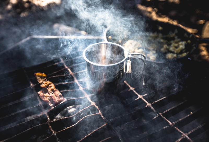 Stainless Steel Container On Charcoal Grill Near Raw Meat Free Public Domain Cc0 Image