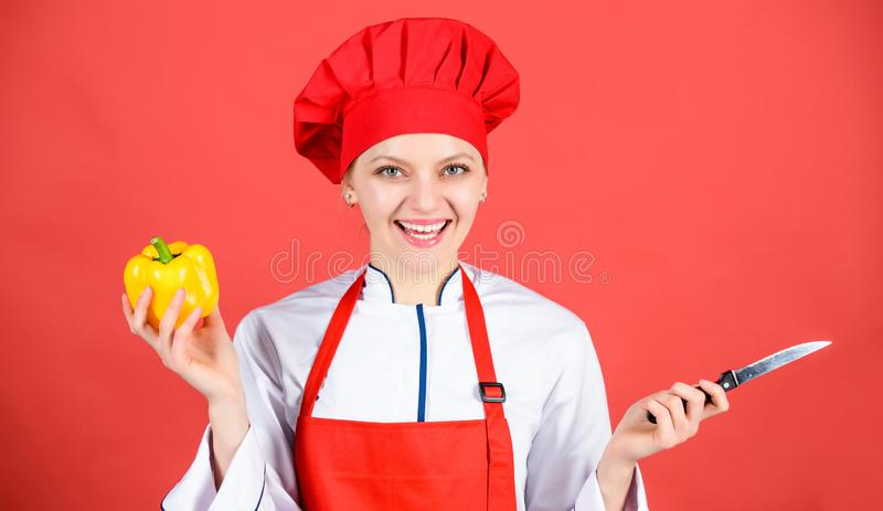 Stainless steel. Dangerous lady. Be careful while cut. Chef cut vegetables. Woman chef hold sharp knife. Ways to chop stock image