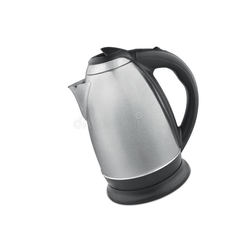 Stainless steel electric kettle isolated stock photography