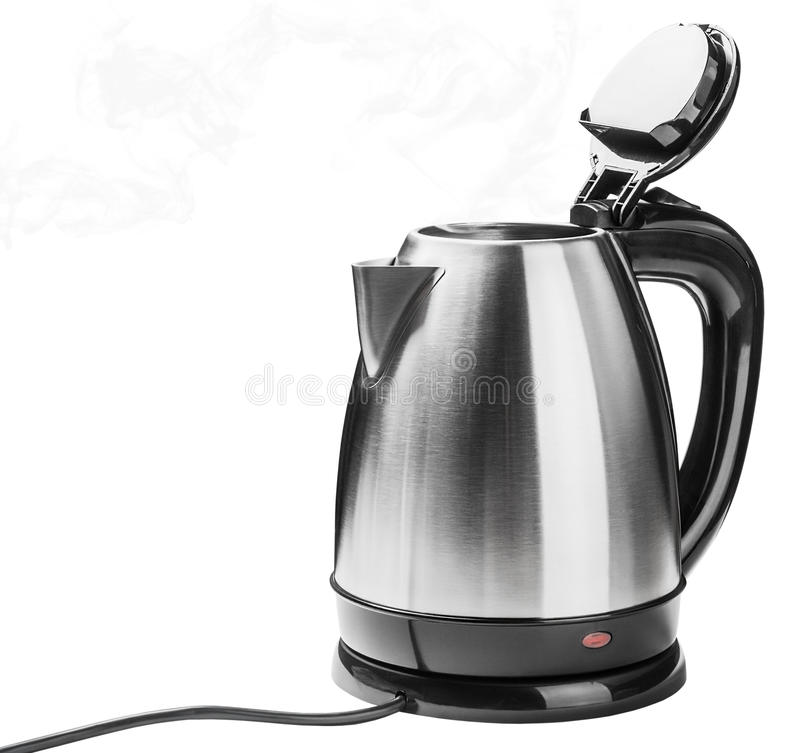 Stainless Steel Electric Kettle on the white stock photo