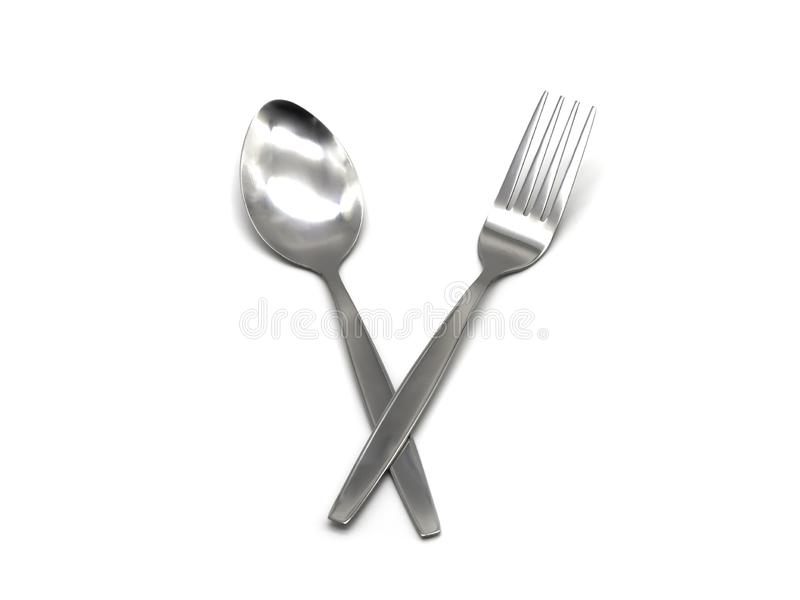 Stainless steel fork and spoon isolated on white background.  royalty free stock image