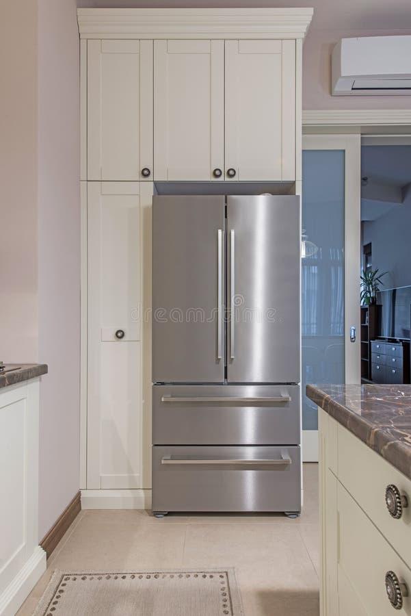 Stainless steel fridge royalty free stock photos