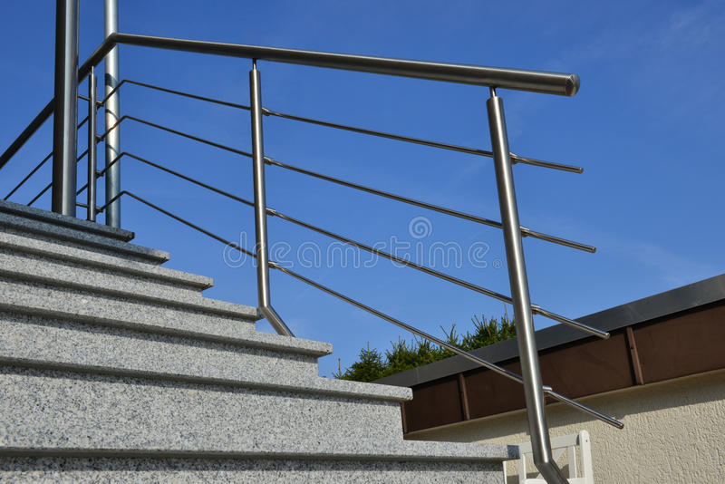 Stainless steel handrail royalty free stock photography