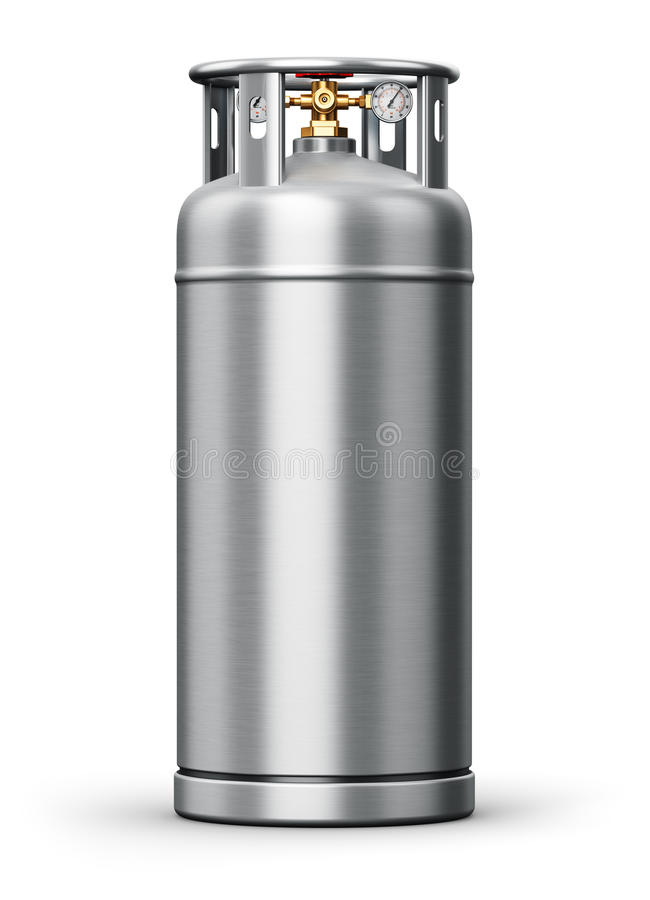 Stainless steel high pressure industrial container for liquefied stock illustration