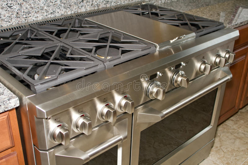 Stainless Steel Home Gas Range Stove and Oven stock photo