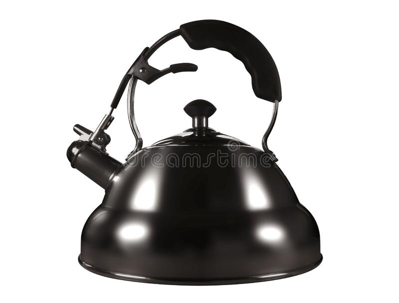 Stainless steel kettle isolated royalty free stock image