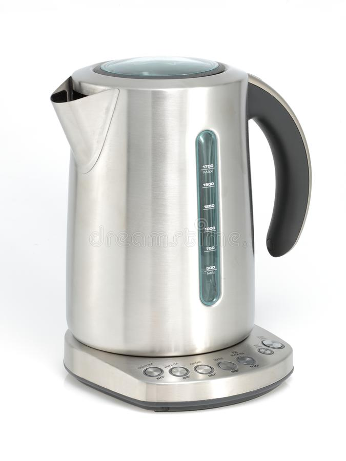 Stainless steel kettle isolated on white with clipping path royalty free stock images