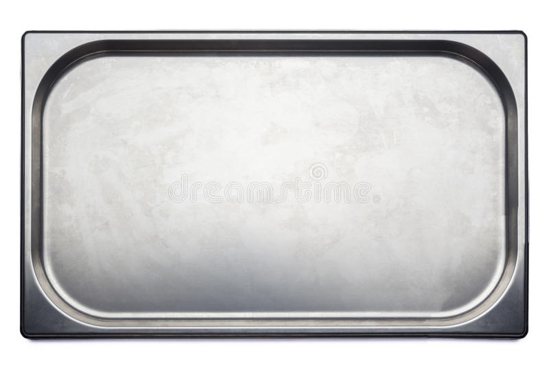 Stainless steel medical tray on white background stock photos