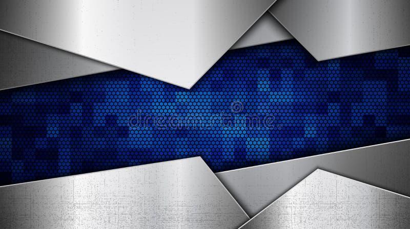 Stainless steel metal panel with grunge overlay metallic texture stock illustration
