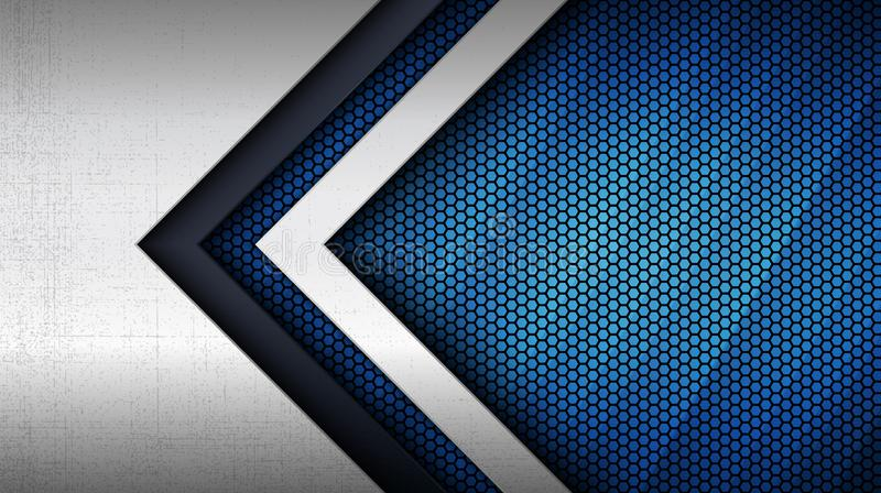 Stainless steel metal panel and hexagonal grid pattern over blue light background. Construction background. Vector illustration of abstract stainless steel metal stock illustration