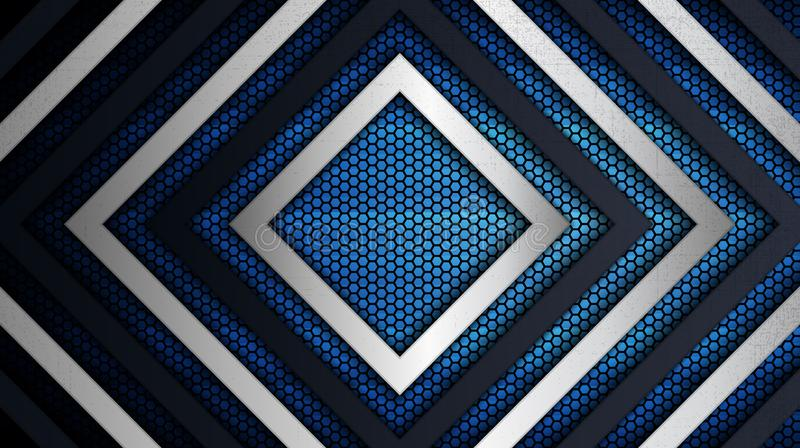 Stainless steel metal panel and hexagonal grid pattern over blue light background. Construction background. Vector illustration of abstract stainless steel metal vector illustration