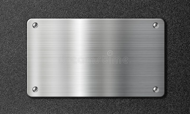 Stainless steel metal plate on black texture vector illustration