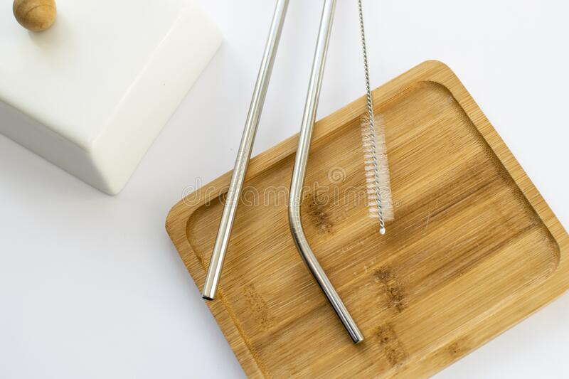 Reusable Metal Straws with Portable Case - Stainless Steel, Eco-Friendly Drinking Straw Set with  Cleaning Brushes. Stainless Stee. Stainless Steel Metal Straws stock photography