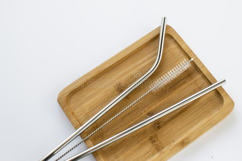 Reusable Metal Straws with Portable Case - Stainless Steel, Eco-Friendly Drinking Straw Set with  Cleaning Brushes. Stainless Stee. Stainless Steel Metal Straws royalty free stock image