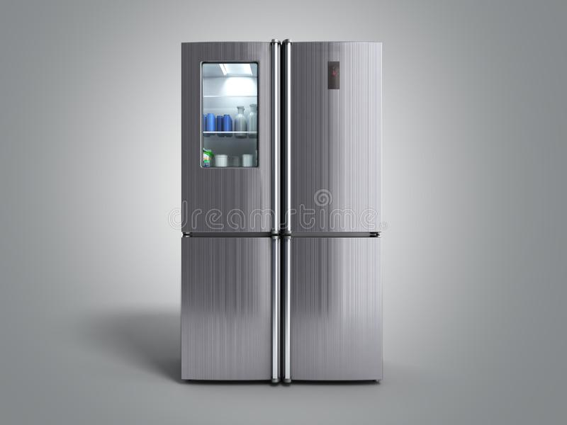 Stainless steel modern refrigerator on grey 3d illustration stock illustration