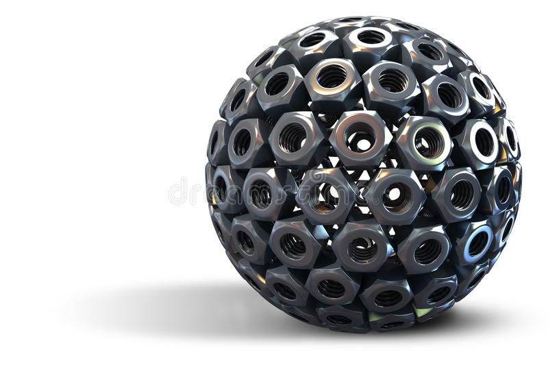 Stainless steel nuts forming sphere royalty free stock photos