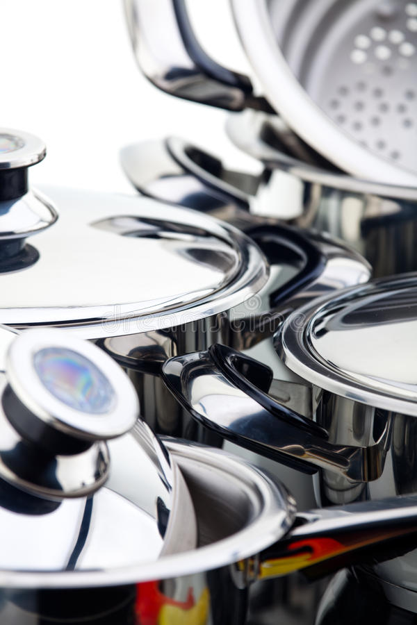 Download Stainless steel pans stock image. Image of cooking, cookery - 12040381