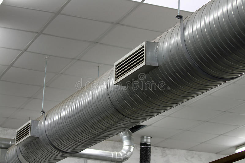 Stainless Steel Pipes Of The Heating System Royalty Free Stock Photography