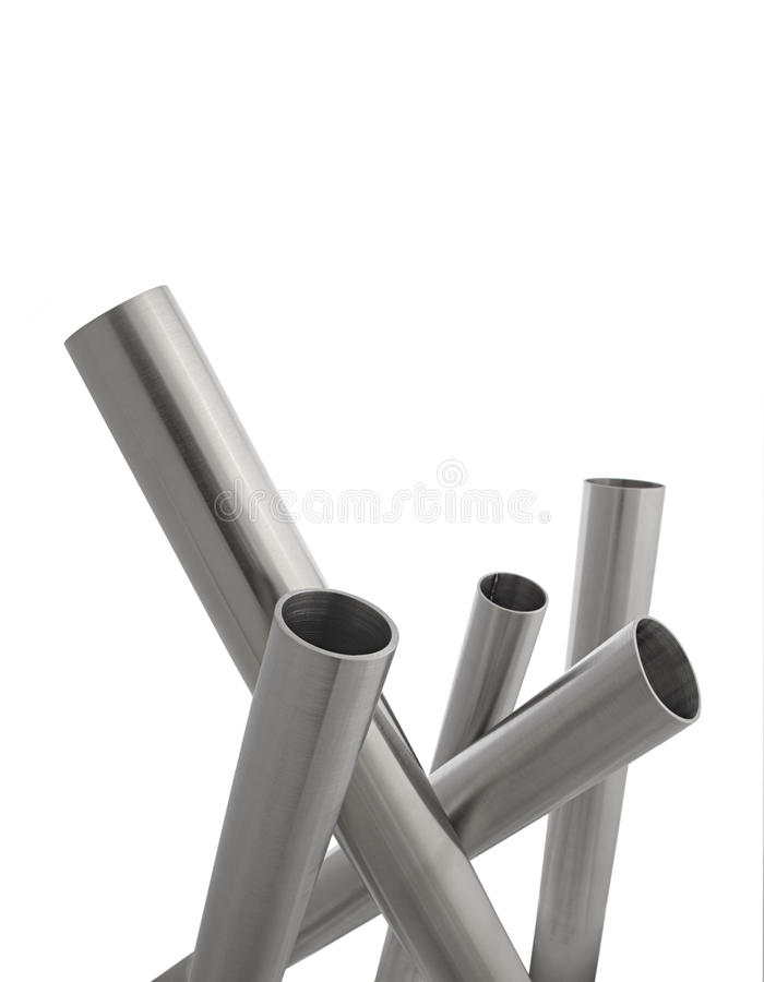 Stainless steel pipes vertical isolated royalty free stock photos