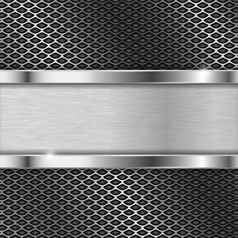 Stainless steel plate on perforated background vector illustration