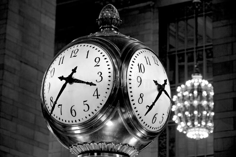 Stainless Steel Post Clock At 3:43 Free Public Domain Cc0 Image