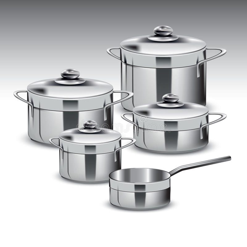 Free Stainless Steel Pots Royalty Free Stock Images - 43995599