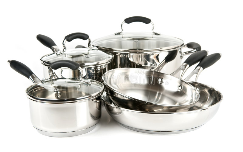 Stainless steel pots and pans royalty free stock photos