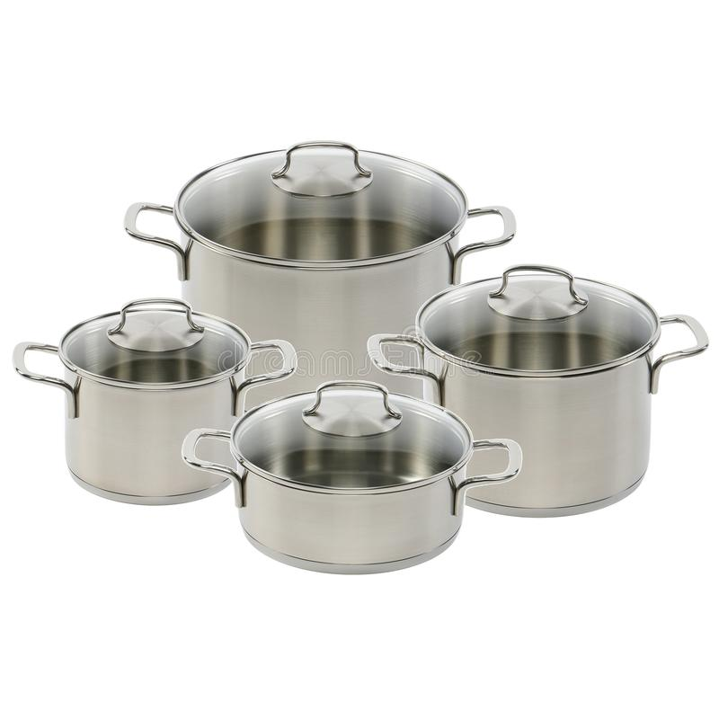 Stainless steel pots royalty free stock photo