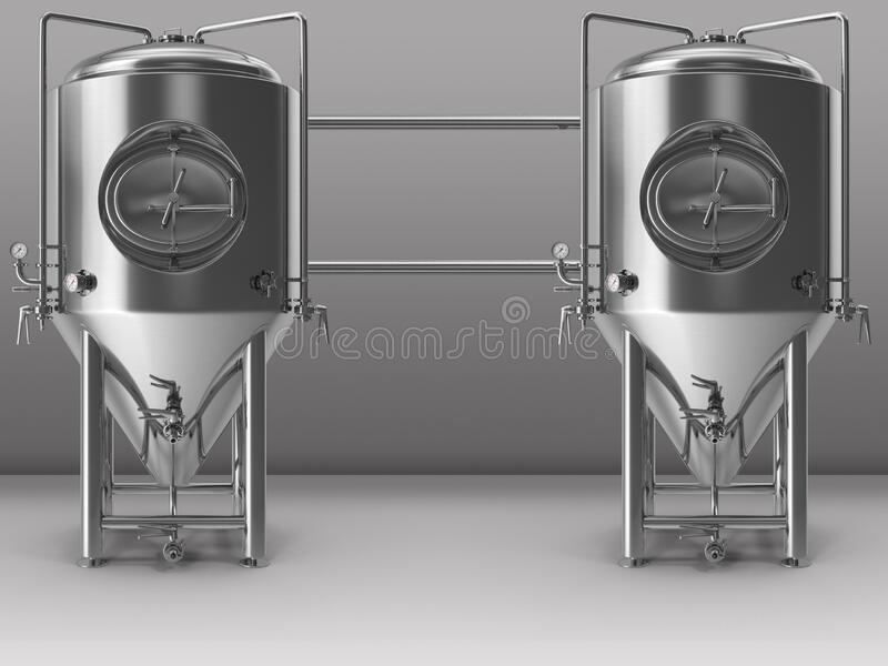Stainless steel process tanks stock images