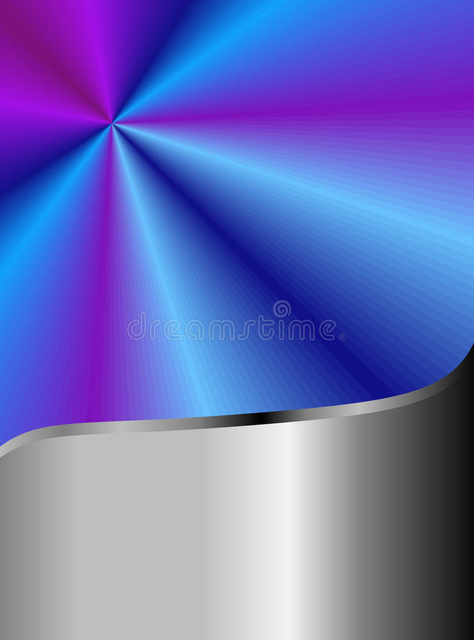 Stainless Steel and Radiant Blue. Blue and violent radiant background graphic with stainless steel accent trim stock illustration