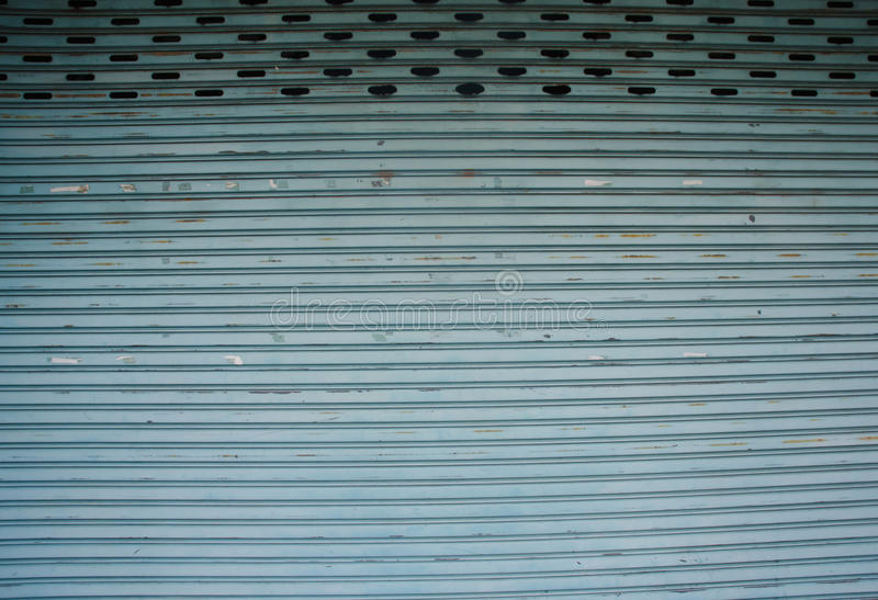 Stainless steel roll up door stock photo