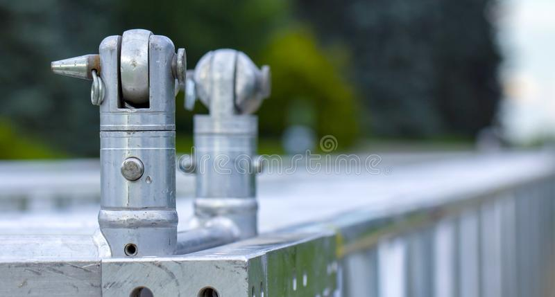 Stainless steel scaffolding joints. High quality expensive equipment. Close up stock image