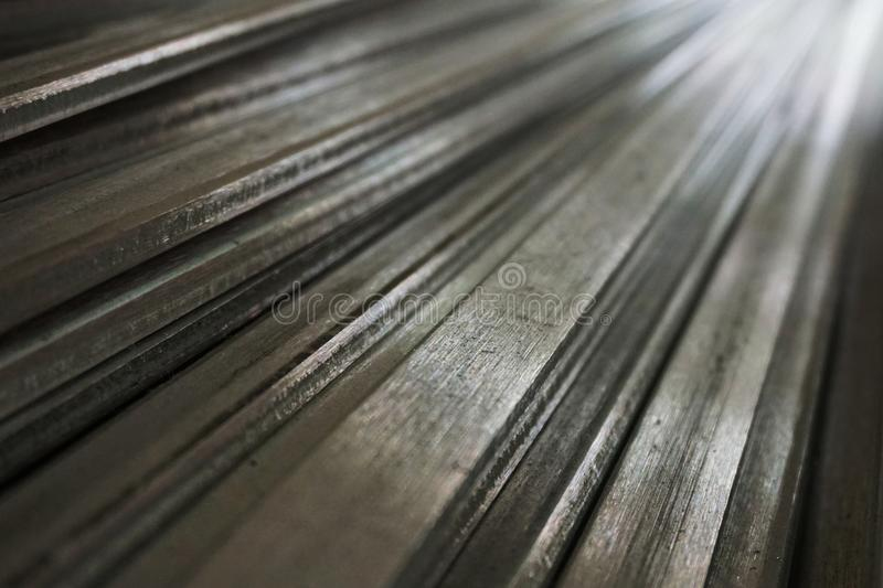 Stainless steel slat 3. Mix of stainless steel slat in warehouse royalty free stock photos
