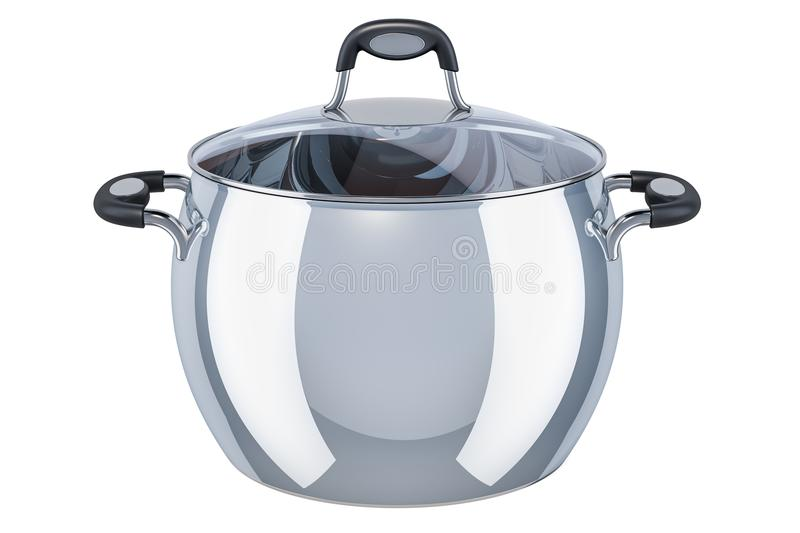 Stainless steel stock pot with glass cover, 3D rendering stock illustration