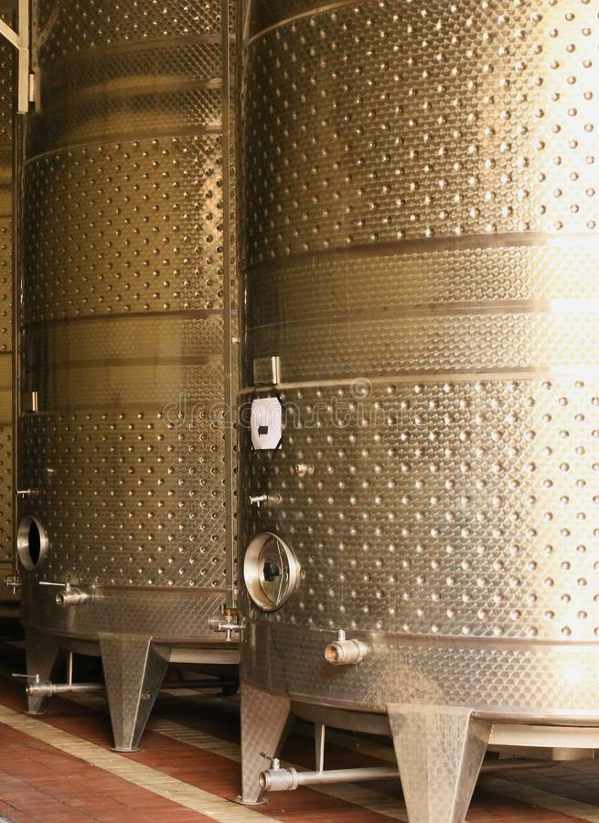 stainless steel tank barrels wine production workshop royalty free stock image