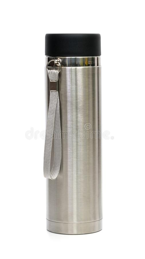 Stainless steel thermos flask isolated on white background royalty free stock photo