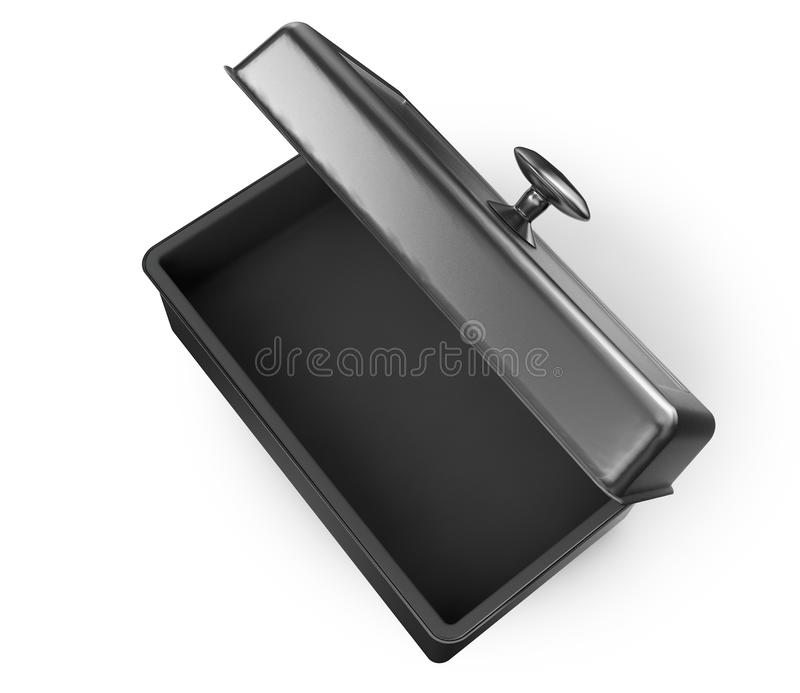 Stainless steel or tin metal shiny silver box container with han. Dle Isolated on white background for mock up and . 3d render illustration. set stock illustration