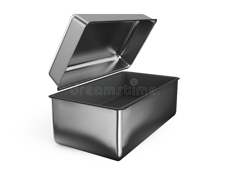 Stainless steel or tin metal shiny silver box container with han. Dle Isolated on white background for mock up and packaging Design. 3d render illustration royalty free illustration