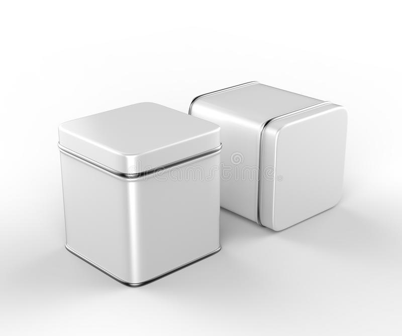 Stainless steel or tin metal shiny silver box container Isolated on white background for mock up and packaging Design. 3d r. Stainless steel or tin metal shiny royalty free illustration