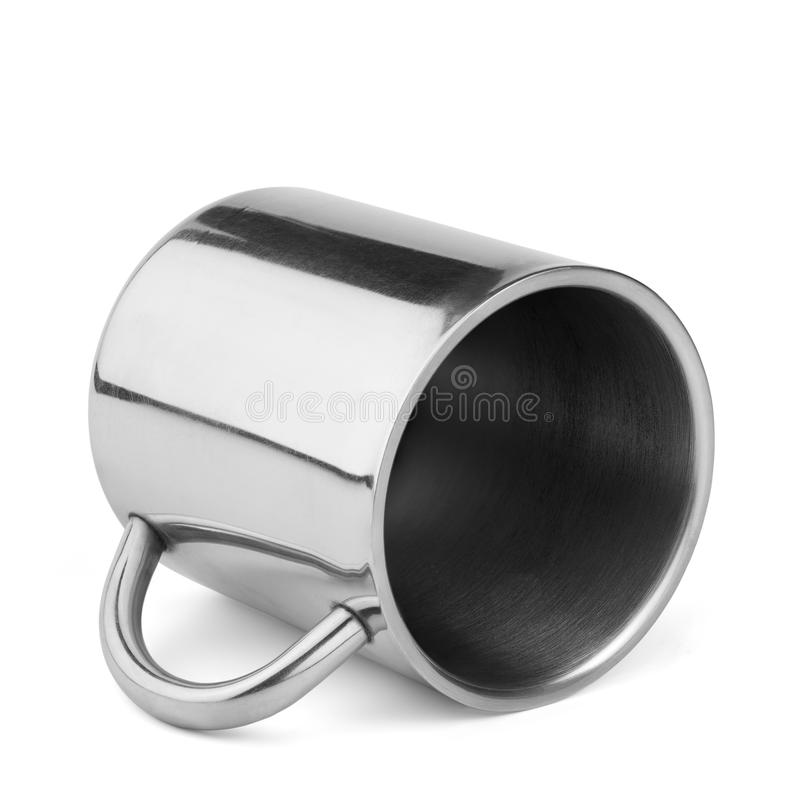 Stainless steel travel thermo cup with handle stock photo