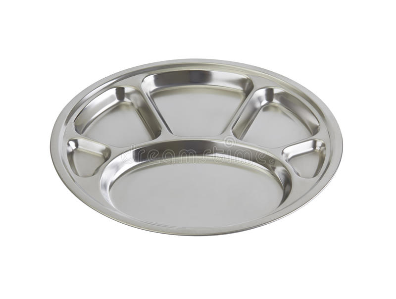 Stainless steel tray isolated. On white background stock images