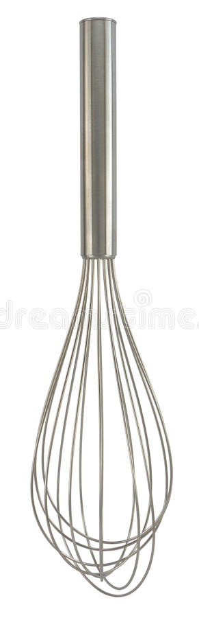 Stainless steel whisk. Isolated on white background stock photography