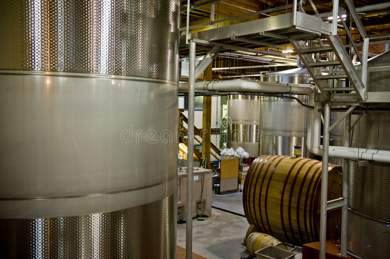 Stainless steel wine vats stock photo