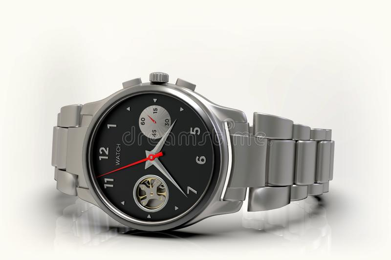 Stainless steel wrist watch with silver bracelet, close-up stock image