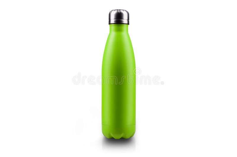 Stainless thermos water bottle, isolated on white background. Light green color. stock images