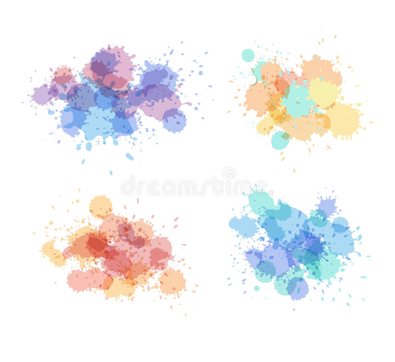 Stains and droplets vector collection. Expressive watercolor splash. Light holographic colors stock illustration