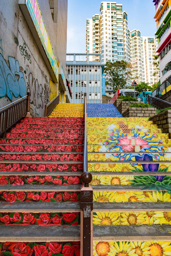 Download Stair Art Painting On Nathan Road Editorial Photography   Image Of  Coloured, Kong: