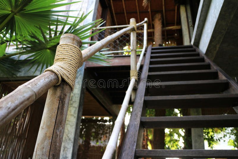 Stair Handrail made of Bamboo stock photos